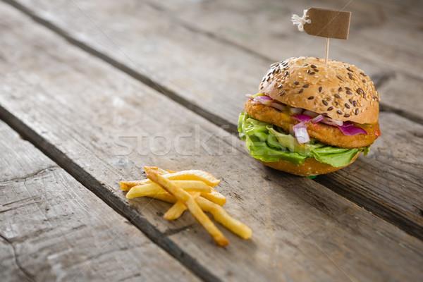 French fries with burger Stock photo © wavebreak_media