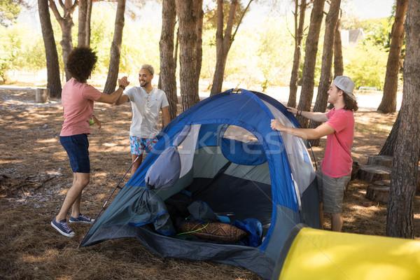 улыбаясь друзей палатки области лес природы Сток-фото © wavebreak_media