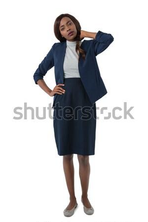 Stockfoto: Portret · vrouw · lijden · nekpijn · permanente · witte