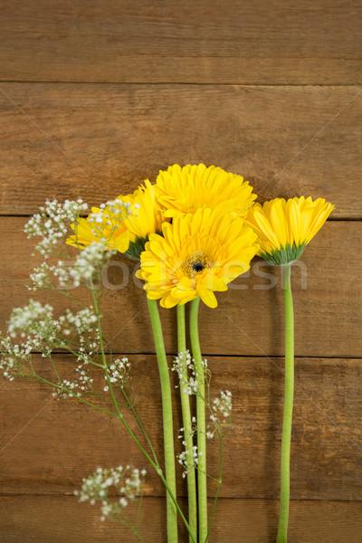 Vue fraîches fleurs table en bois rose nature Photo stock © wavebreak_media