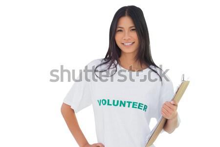 Fiatal üzletasszony láthatatlan interfész áll fehér Stock fotó © wavebreak_media