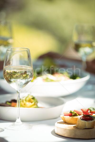 クローズアップ 食品 ワイングラス ダイニングテーブル レストラン ワイン ストックフォト © wavebreak_media
