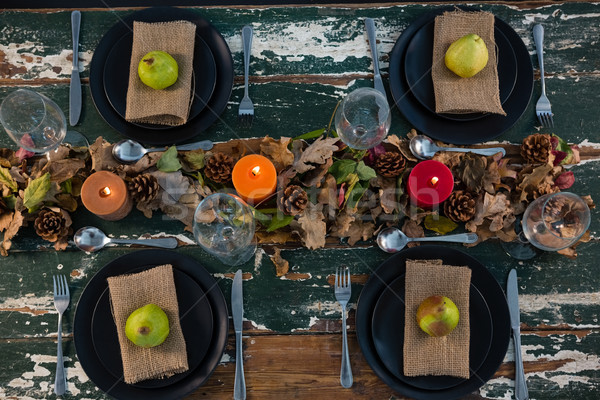 Overhead view of pears served in plate on table Stock photo © wavebreak_media