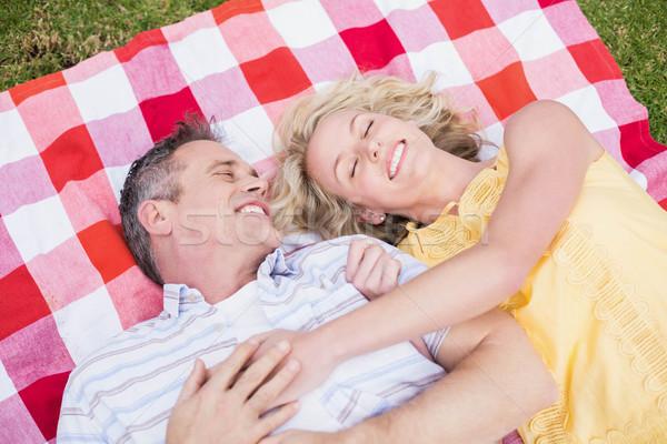 Mutlu çift battaniye çim kadın Stok fotoğraf © wavebreak_media