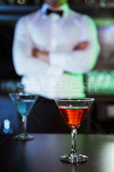 Two glasses of cocktail on bar counter Stock photo © wavebreak_media