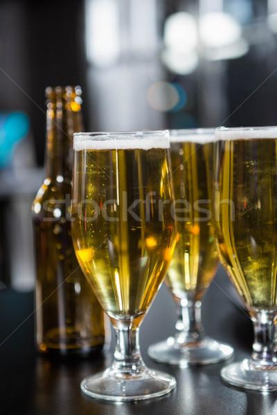 Okulary piwa gotowy bar Licznik Zdjęcia stock © wavebreak_media