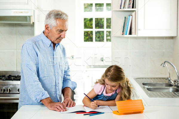 Girl studying at table with granddad  Stock photo © wavebreak_media
