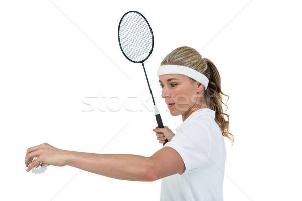 Female athlete holding a badminton racquet ready to serve  Stock photo © wavebreak_media