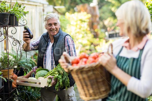 Mannelijke tuinman groenten naar vrouw buiten Stockfoto © wavebreak_media