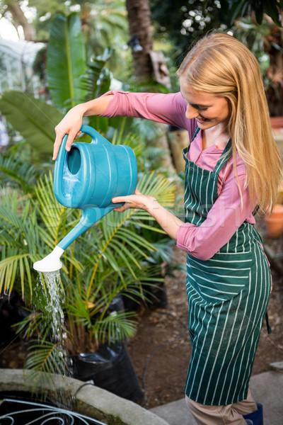 Happy young gardener watering plants at garden Stock photo © wavebreak_media