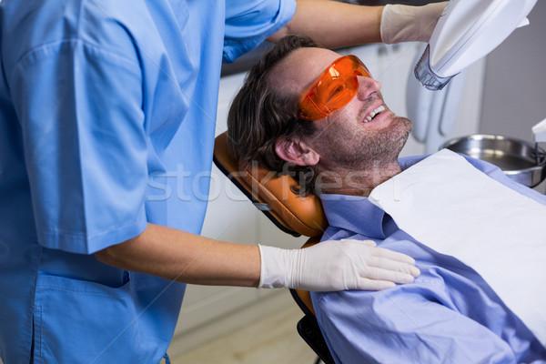 ストックフォト: 歯科 · アシスタント · 調べる · 小さな · 患者 · 口