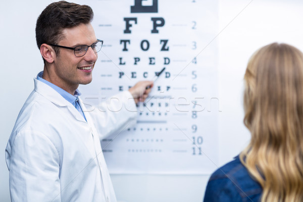 Optometrist taking eye test of female patient Stock photo © wavebreak_media