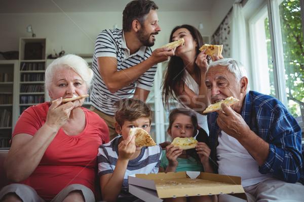 Aile pizza birlikte ev kadın kız Stok fotoğraf © wavebreak_media