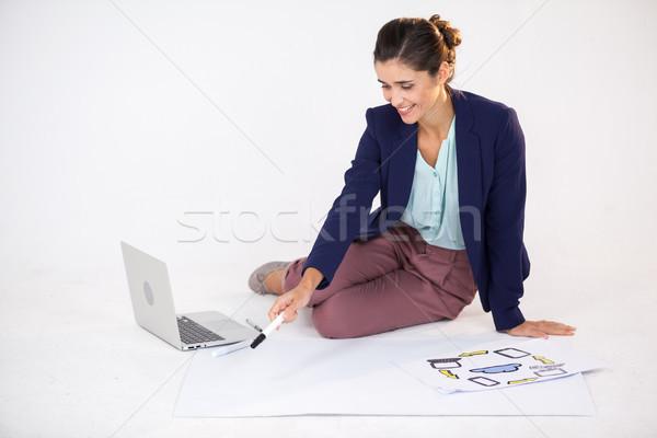 女性実業家 グラフ アイコン 白 ビジネス 幸せ ストックフォト © wavebreak_media