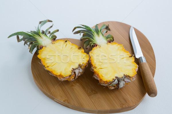 Közelkép kettő ananász vágódeszka szeretet reggeli Stock fotó © wavebreak_media