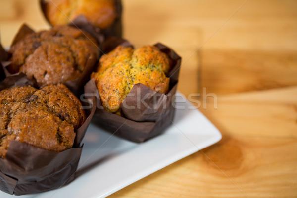 Muffins geserveerd plaat coffeeshop voedsel cake Stockfoto © wavebreak_media