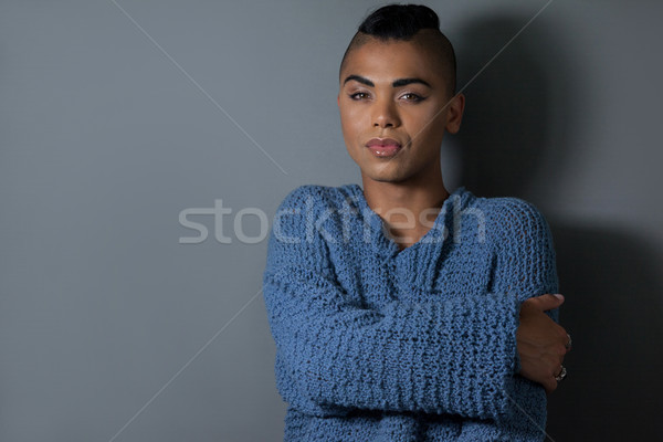 Portret transgender vrouw telefoon stoel Stockfoto © wavebreak_media