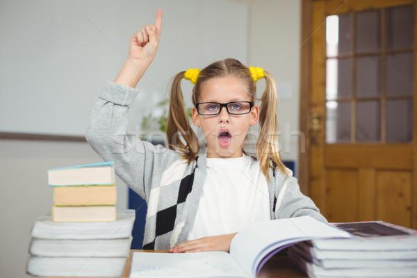 座って デスク 質問 少女 図書 学校 ストックフォト © wavebreak_media
