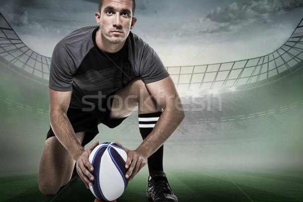 Immagine ritratto rugby giocatore nero Foto d'archivio © wavebreak_media