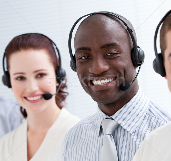 Boldog ügyfélszolgálat áll vonal headset számítógép Stock fotó © wavebreak_media