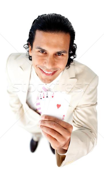 Encantador empresario exitoso mano tarjetas Foto stock © wavebreak_media