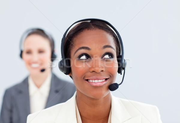 Charyzmatyczny kobieta interesu kolega zestawu call center telefonu Zdjęcia stock © wavebreak_media