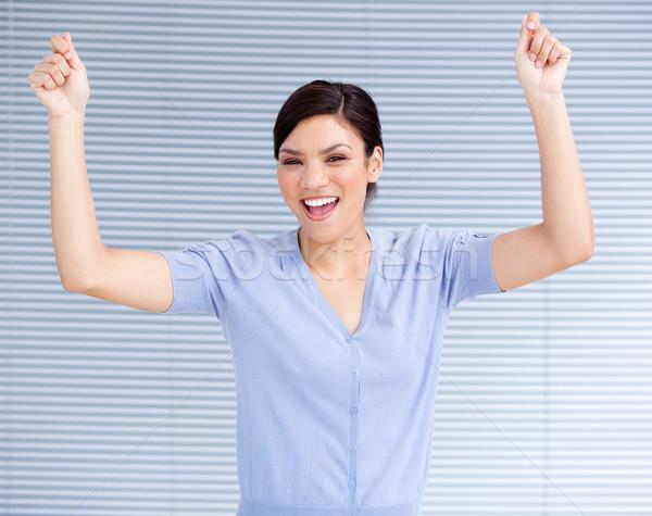 Udany kobieta interesu powietrza uroczystości pracy biuro Zdjęcia stock © wavebreak_media