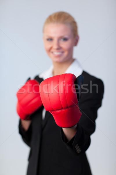 Felice donna d'affari guantoni da boxe focus guanti giovani Foto d'archivio © wavebreak_media