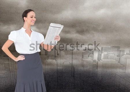 Sorridere donna d'affari fuori biglietto da visita giovani Foto d'archivio © wavebreak_media