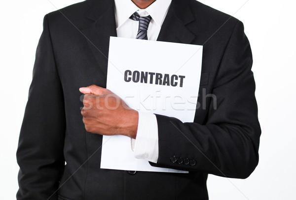 Közelkép üzletember tart szerződés afrikai izolált Stock fotó © wavebreak_media