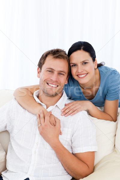 Сток-фото: страстный · женщину · дружок · расслабляющая · диван