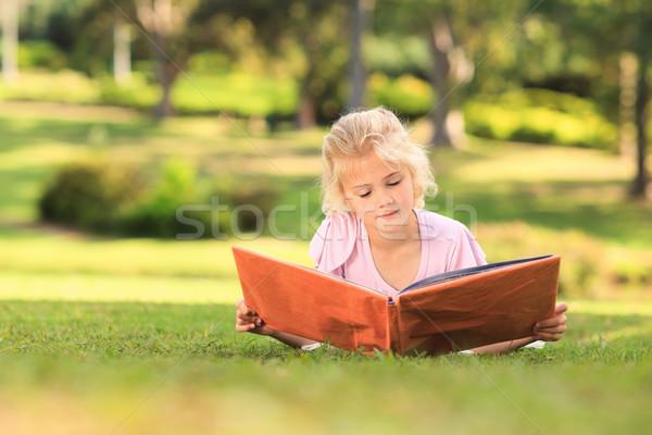 Bambina guardando album foto albero amore Foto d'archivio © wavebreak_media