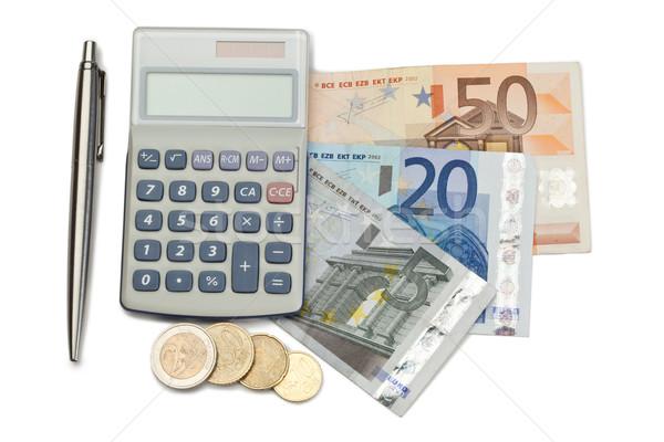 Сток-фото: наличных · монетами · пер · кармана · калькулятор · белый