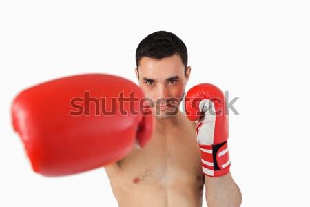 глядя Боксер за охватывать белый спорт Сток-фото © wavebreak_media