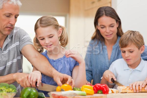 Család főzés együtt otthon egészség konyha Stock fotó © wavebreak_media