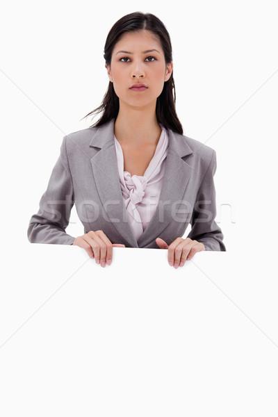Komoly néz üzletasszony üres tábla tábla fehér Stock fotó © wavebreak_media