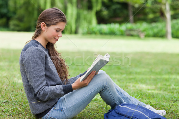 Young relaxed girl seriously reading a book while sitting on the grass in a park Stock photo © wavebreak_media