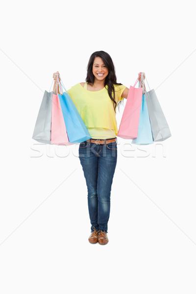Estudante branco feliz em pé sacos Foto stock © wavebreak_media