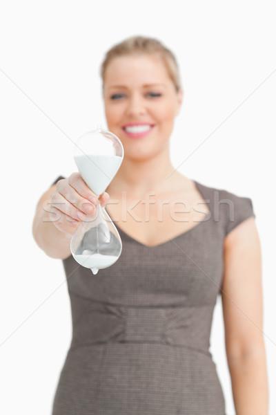 Mulher turva ampulheta branco vidro Foto stock © wavebreak_media
