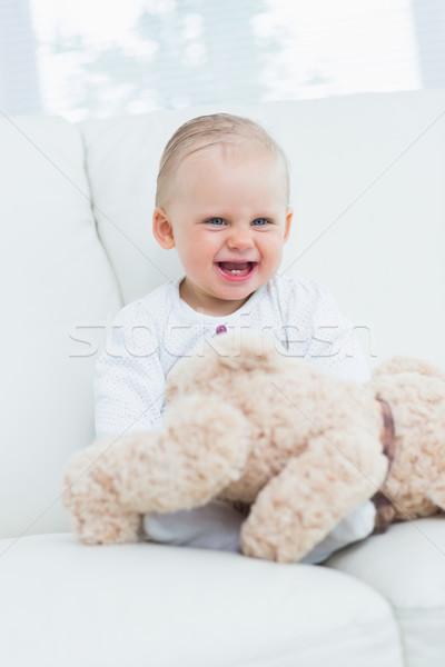 Baby lächelnd Teddybär Wohnzimmer glücklich Jugend Stock foto © wavebreak_media