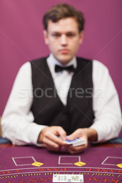 Kereskedő üzlet póker játék kaszinó férfi Stock fotó © wavebreak_media