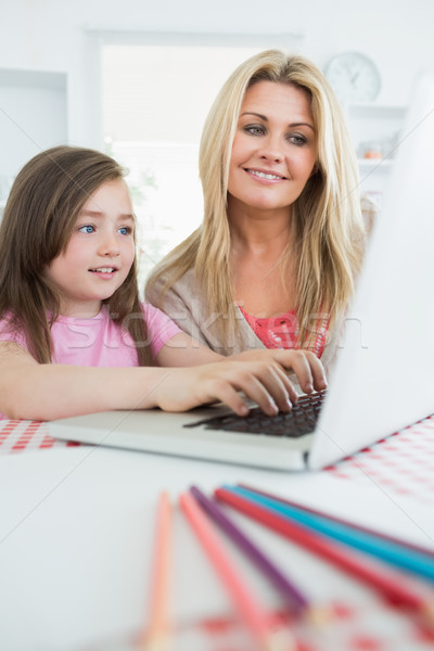 Mother watching child typing on laptop in kitchen Stock photo © wavebreak_media