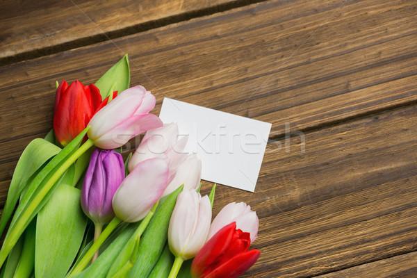 Bunch of tulips and white card Stock photo © wavebreak_media