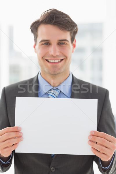 счастливым бизнесмен пустая страница служба костюм Сток-фото © wavebreak_media