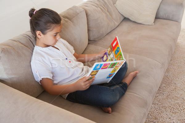 Meisje lezing verhalenboek sofa woonkamer Stockfoto © wavebreak_media