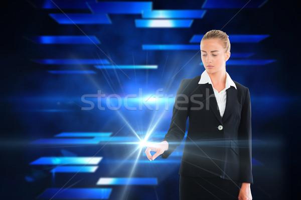 Kobieta interesu dotknąć świetle digital composite działalności Zdjęcia stock © wavebreak_media