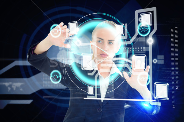 Empresária tocante interface composição digital computador Foto stock © wavebreak_media