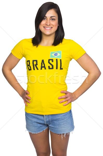 Bastante futebol ventilador brasil tshirt branco Foto stock © wavebreak_media