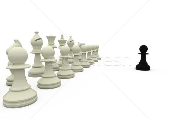 Black pawn facing white pieces Stock photo © wavebreak_media
