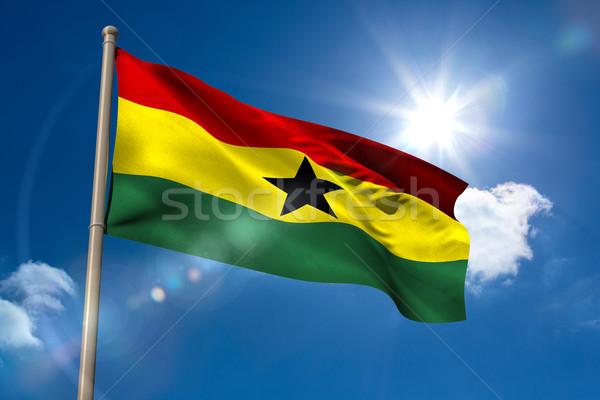 Гана флаг флагшток Blue Sky солнце свет Сток-фото © wavebreak_media